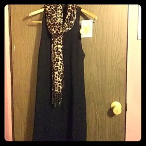 NAKED ZEBRA HIGH NECK SHIFT DRESS BLACK MEDIUM